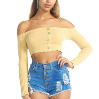 Button Me Down Ribbed Crop Top