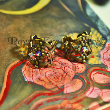 Filigree Ear Cuff Gothic Antique Gold Bronze Tone Earring No Pierce non pierced ONE piece
