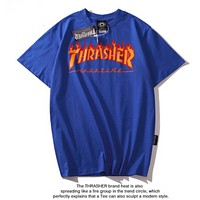 Thrasher New fashion flame letter print couple top t-shirt Blue