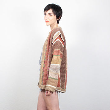 Vintage 80s Cardigan Boho Chunky Knit Sweater Coat Ribbon Laced Oversized Sweater 1980s Jumper Hippie Brown Tan Gold Green Pink M Medium L