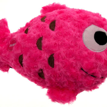 "Pink Fish Pillow Multi Color LED Light Up Flash Plush 12"" Microbeads Throw Decor"