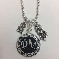 Phi Mu Elegant Sorority Greek Charm Necklace - lavaliere, lion mascot charm, black and white damask, comes on a 24 inch bead chain