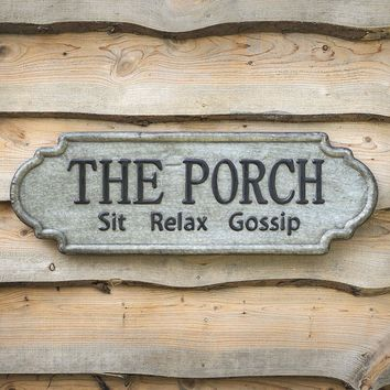 Primitive Country THE PORCH METAL SIGN PLAQUE Rustic Farmhouse Wall Hanging