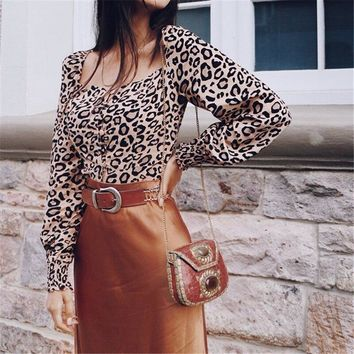Womens Leopard Print Long Sleeve Tops and Blouses Loose OL Shirts Square Collar Party blusas femininas elegante chemise femme