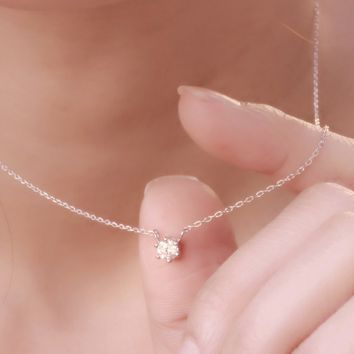 6 Prongs Set Solitaire 4mm Diamond Simulant CZ Sterling Silver Chain Necklace