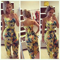 Women Jumpsuits Rompers Lady Yellow Clubwear Summer Backless Bandage Playsuit Bodycon Party  Trousers Size S to XL