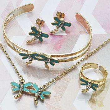 Gold Layered Girls Dragon-Fly Earring and Pendant Children Set, with White Crystal, by Folks Jewelry