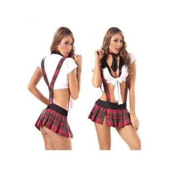 Student Garment Sexy Red Grid Suspender Skirt European Game Uniform