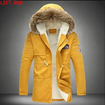 New Arrival 2017 Winter Selling Four Color Men's Slim Long Overcoat Popular Asian Hooded Warm Hair Collar Hooded Coat M-5XL