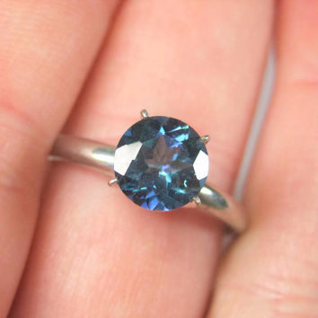 Blue Mystic Topaz Solitaire Engagement Ring Size 9