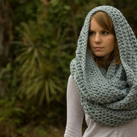 Infinity Scarf, Blue Gray Crochet Oversized Scarf, Hooded Scarf, Chunky Cowl, Wool