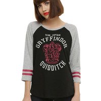 Harry Potter Gryffindor Quidditch Team Captain Girls Raglan