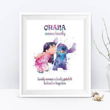 Stitch Ohana Means Family Quote Watercolor Art Print Lilo Disney Print Lilo and Stitch Party Nursery Gift For Mom Digital Download