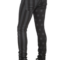 Rude Black And Grey Flag Skinny Fit Denim Jeans | Hot Topic