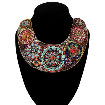 Gold and Multi Color Beaded Bib Necklace