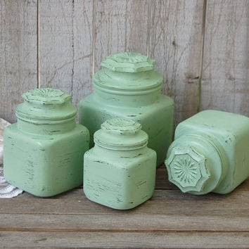 Canister Set, Shabby Chic, Green, Retro, Glass, Mid Century, Painted, Distressed