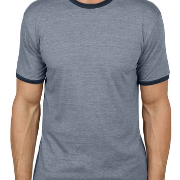 LE3NO Mens Round Neck Short Sleeve Color Block Shirt (CLEARANCE)
