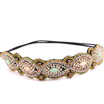 Metting Joura Women Girls Bohemian Punk  Vintage Braided Tube Seed Beads Knitted Flower Headband Hair Accessories