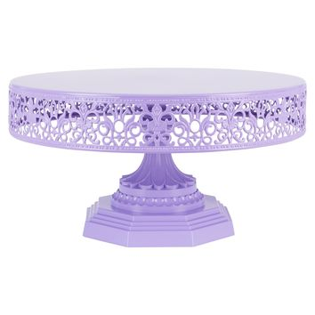 12 Inch Round Metal Wedding Cake Stand (Lavender Purple)