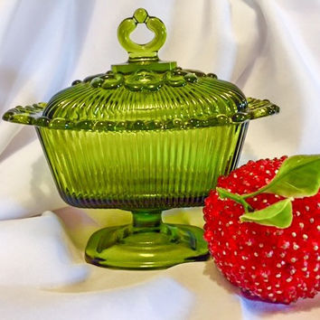 Vintage Indiana Glass Footed Candy Dish