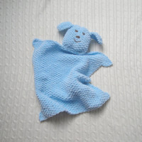 Puppy Dog Lovey Pale Blue, Chenille, Boy & Girl Baby Toddler, Knitted Dog, Security Blanket