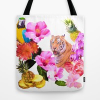Tropical Tiger with Hibiscus, Orchids, Parrot And Pineapple Tote Bag by Daphsam | Society6