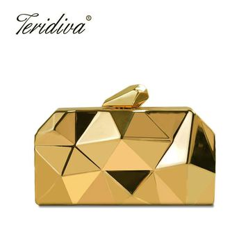 Teridiva Fashion Women Evening Bag Geometric 3D Metal Lady Evening Clutch Purses Luxury Day Clutches for Party Handbag Wallet
