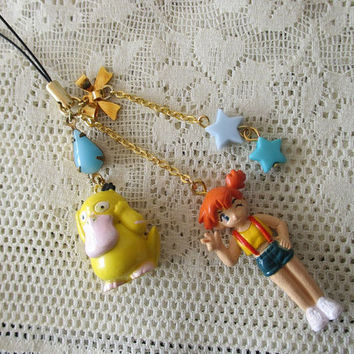 Pokemon Cell Phone Charm - Misty & Psyduck - Pokemon Trainer Gear