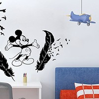 Wall Decal Mickey Mouse Feathers Vinyl Sticker Decals Nursery Baby Room Kids Boys Girls Home Decor Bedroom Art Design Interior NS876