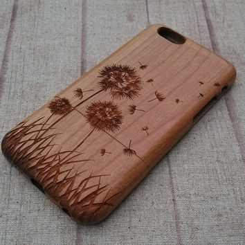 Wood iPhone case, Dandelion case, iphone 6 case,iphone 6plus, iphone 5 case ,iphone 4, iphone 5c case, wood case,wooden iphone case,gift