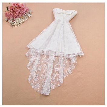 White Patchwork Lace Bow Embroidery Bandeau High-low Midi Dress