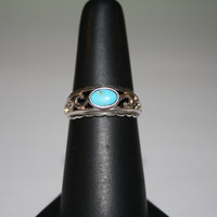 Beach Jewelry Turquoise Stone and Silver Waves Ring Vintage Sterling Silver Ring Size 6- free ship US
