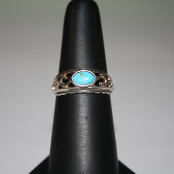 Beach Jewelry Turquoise Stone and Silver Waves Ring Vintage Sterling Silver Ring Size 7- free ship US