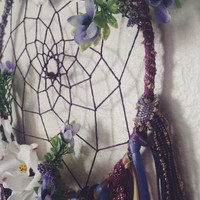 Floral Bohemian Dreamcatcher with Hemp Cording