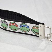 Sale - Teenage Mutant Ninja Turtle black ribbon keychain READY TO SHIP