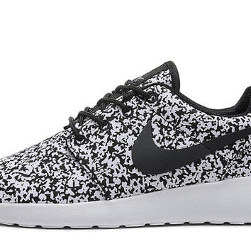 custom Nike Roshe Run Snowflake Print Black White