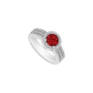 Ruby and Diamond Halo Engagement Ring : 14K White Gold - 1.60 CT TGW