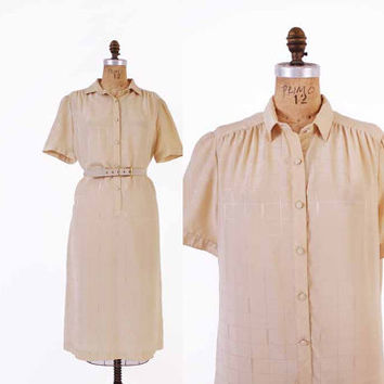 Vintage 70s LANVIN DRESS / 1970s Soft Ivory Logo Print Silky Shirt Dress L
