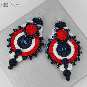 Red White soutache earrings, Navy bluesoutache, Soutache earrings, Doublesided soutache, Soutache bilateral, France