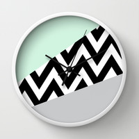 Mint & Gray Chevron Block Wall Clock by dani