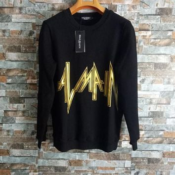 """Balmain"" Unisex Personality Lightning Bronzing Letter Long Sleeve Thickened Sweater Couple Loose Casual Pullover Tops"