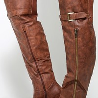 Land-4 Ruched Zipper OTK Riding Boots | MakeMeChic.com