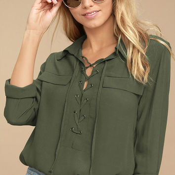 Once in a Lifetime Olive Green Lace-Up Top