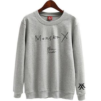Spring autumn monsta x shine forever printing o neck pullover thin sweatshirt for kpop fans loose hoodies
