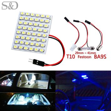 48 SMD Blue White Amber Panel led car T10 BA9S Festoon Dome Interior Lamp w5w c5w t4w bulbs Car Light Source parking D020