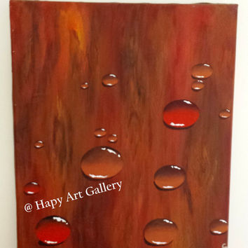 "16X20"" Droplets on Wood Original Abstract painting, Unique gift idea, gorgeous wall painting, life like wall art water drops on wood country"
