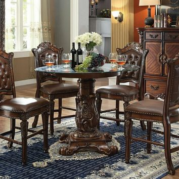 5 pc Vendome III collection cherry finish wood detailed carving round glass top counter height dining table set with tufted back chairs