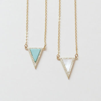 Triangle Necklace Gold and Turquoise | Triangle Necklace Gold and Mother of Pearls | Delicate Minimalist Jewelry