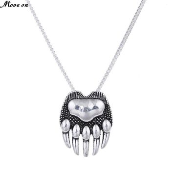 10pc Bear Paw Necklace Whippet Dog Lover Necklaces Pendants Silver Women Body Jewlery Charm Statement Both Sides Memorial Gift