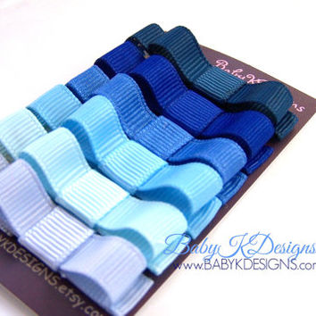 SAVE 15% Solid Shades of BLUE Baby Hair Bows Clips / Girls Petite Baby Bow Clippies / Toddler Girl Tuxedo Bow No Slip Clips You SIX U Pick